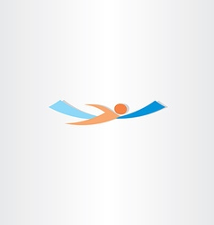 Man swimming in sea logo vector