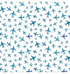 Many blue planes icons on white seamless pattern vector image vector image