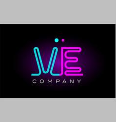 Neon lights alphabet ve v e letter logo icon vector