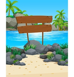 Ocean scene with wooden sign on the beach vector