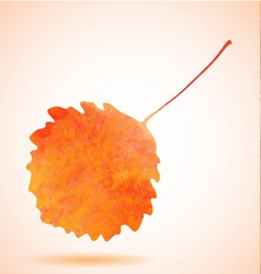 Orange watercolor aspen leaf vector