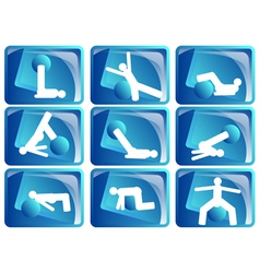 pilates icon set vector image