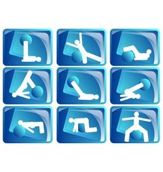 Pilates icon set vector