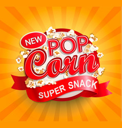 Popcorn label on sunburst background vector