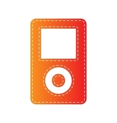Portable music device orange applique isolated vector