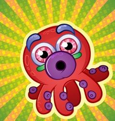 Rainbow Octopus Cartoon Character vector image vector image