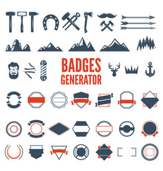 retro emblem generator is set of icons badges vector image vector image
