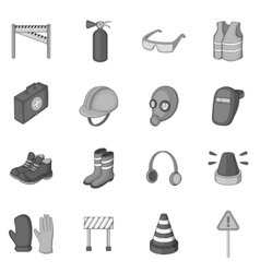 Safety work icons set monochrome style vector
