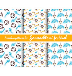 Seamless patterns janmashtami festival vector