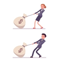 Set of businessman and businesswoman dragging a vector