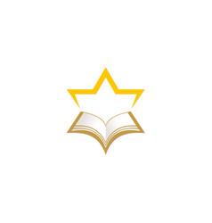 star open book education logo vector image