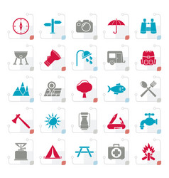 stylized camping and tourism icons vector image