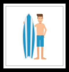 Surfboarder Man With Surf Desk vector image vector image