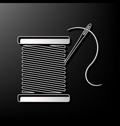Thread with needle sign gray vector