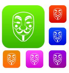 vendetta mask set color collection vector image