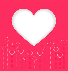 white heart valentine day with red background vector image vector image