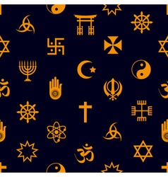 World religions symbols icons seamless pattern vector