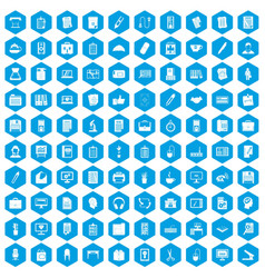 100 office icons set blue vector