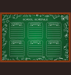 School shedule for a week on blackboard vector