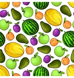 Organic fresh fruits seamless pattern vector