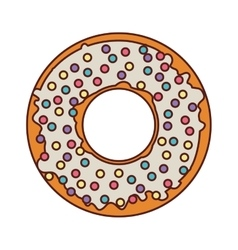 Donut with white glazed and colored sparks vector