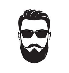 Bearded men face hipster character vector