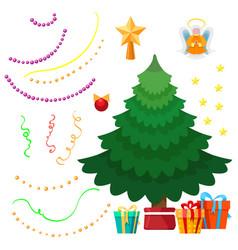 Christmas tree and decorations set vector