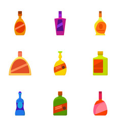 Expensive bottle icons set cartoon style vector
