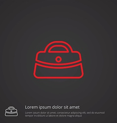 Purse outline symbol red on dark background logo vector