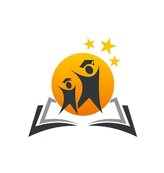 education logo book student icon vector image