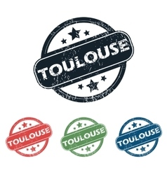 Round toulouse city stamp set vector