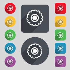 Cogwheel icon sign a set of 12 colored buttons and vector