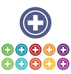 Medical emblem icons colored set vector