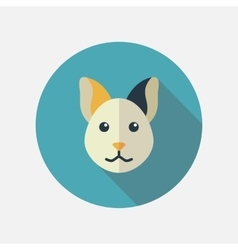 Cat flat icon with long shadow vector