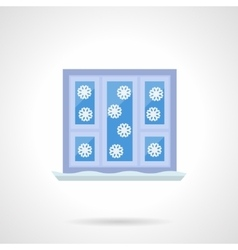 Winter window flat color icon vector