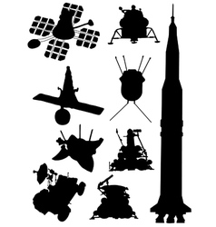 Collection of silhouettes of spacecrafts vector