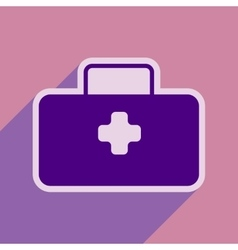 Icon of medical suitcase in flat style vector