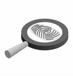 Fingerprint under a magnifying glass vector
