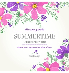 Wedding invitation with pink and purple flowers on vector