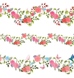 Collection seamless borders with vintage floral vector