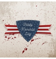 Happy memorial day festive emblem and ribbon vector