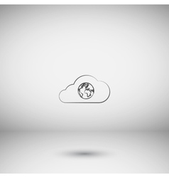 Flat paper cut style icon of cloud with globe vector
