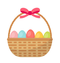 Basket with painted eggs easter basket icon flat vector