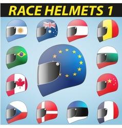 bike helmet and flags vector image