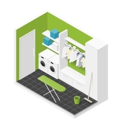 Cleaning room isometric icon vector