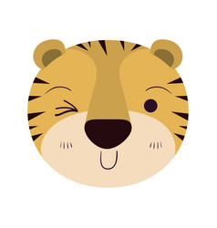 Colorful caricature cute face of tiger wink eye vector