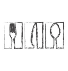 Contour symbol cutlery food icon vector