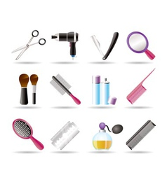 Cosmetic and hairdressing icons vector