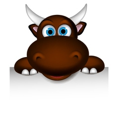 Cute buffalo cartoon posing with blank sign vector
