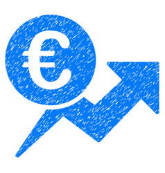 Euro sales growth grunge icon vector